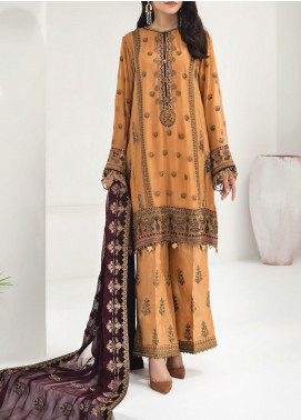 Alizeh Fashion by Bilal Embroidered Chiffon Unstitched 3 Piece Suit BL20A 07-ROYAL AMBER - Luxury Collection