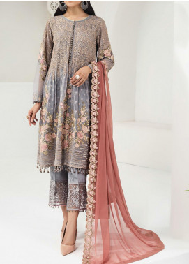 Alizeh Fashion by Bilal Embroidered Chiffon Unstitched 3 Piece Suit BL20A 08-FOXY SILVER - Luxury Collection