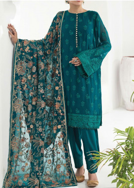 Alizeh Fashion by Bilal Embroidered Chiffon Unstitched 3 Piece Suit BL20A 09-FOREST ENCHANTRESS - Luxury Collection