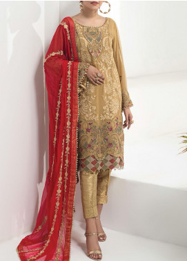 Alizeh Fashion by Bilal Embroidered Chiffon Unstitched 3 Piece Suit BL20A 10-MAJESTIC TUSCAN - Luxury Collection