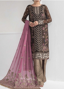 Alizeh Fashion by Bilal Embroidered Chiffon Unstitched 3 Piece Suit BL20A 11-FLEUR PASSION - Luxury Collection