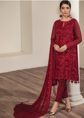 Alizeh Fashion by Bilal Embroidery Embroidered Chiffon Unstitched 3 Piece Suit AFB20-C2 03 Mashael - Luxury Collection