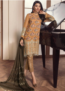 Alizeh Fashion by Bilal Embroidery Embroidered Chiffon Unstitched 3 Piece Suit AFB20-C2 05 Qudrah - Luxury Collection