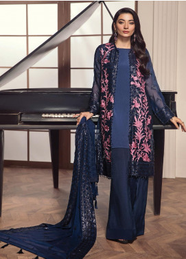 Alizeh Fashion by Bilal Embroidery Embroidered Chiffon Unstitched 3 Piece Suit AFB20-C2 06 Azbah - Luxury Collection