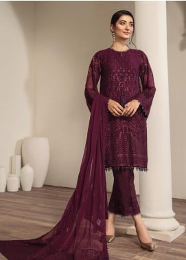 Alizeh Fashion by Bilal Embroidery Embroidered Chiffon Unstitched 3 Piece Suit AFB20-C2 08 Zaima - Luxury Collection
