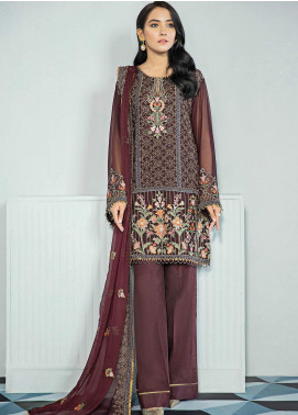 Alizeh Fashion by Bilal Embroidery Embroidered Chiffon Unstitched 3 Piece Suit AFB20-C3 05 Jaamun - Luxury Collection