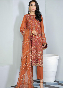Alizeh Fashion by Bilal Embroidery Embroidered Chiffon Unstitched 3 Piece Suit AFB20-C3 06 Shideh - Luxury Collection