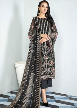 Alizeh Fashion by Bilal Embroidery Embroidered Chiffon Unstitched 3 Piece Suit AFB20-C3 11 Balck Palm - Luxury Collection