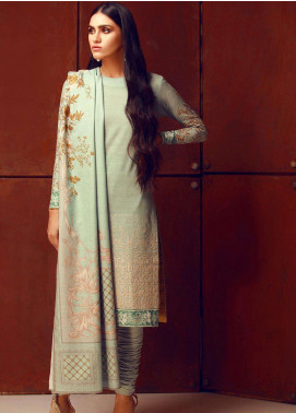 Al Karam Embroidered Khaddar Unstitched 3 Piece Suit AK18W FW 37.1 TURQUOISE - Winter Fashion