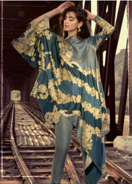 Al Karam Printed Viscose Unstitched Kurties AK18W FW 01 BLUE - Winter Fashion