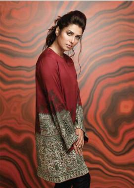 Al Karam Printed Viscose Unstitched Kurties AK18W FW 02 MAROON - Winter Fashion