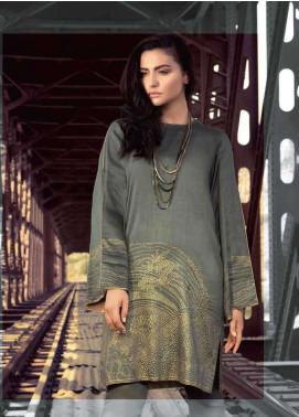 Al Karam Printed Viscose Unstitched Kurties AK18W FW 03 GREY - Winter Fashion
