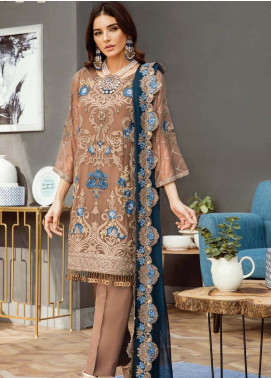 Alleche by Afrozeh Embroidered Chiffon Unstitched 3 Piece Suit AAF19E 02 Caramel Swirl - Luxury Collection