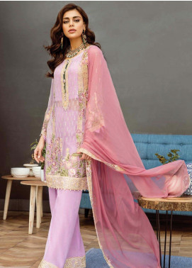 Alleche by Afrozeh Embroidered Chiffon Unstitched 3 Piece Suit AAF19E 03 Lavender Frost - Luxury Collection