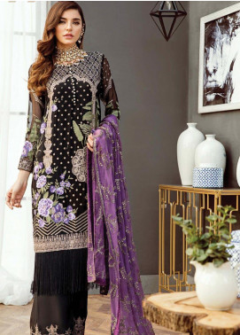 Alleche by Afrozeh Embroidered Chiffon Unstitched 3 Piece Suit AAF19E 04 Obsidian Dream - Luxury Collection