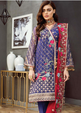 Alleche by Afrozeh Embroidered Chiffon Unstitched 3 Piece Suit AAF19E 05 Egyptian Capri - Luxury Collection