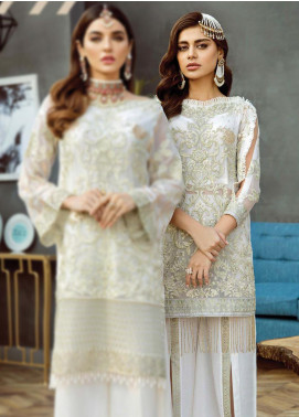 Alleche by Afrozeh Embroidered Chiffon Unstitched 3 Piece Suit AAF19E 07 Pearl Daisy - Luxury Collection