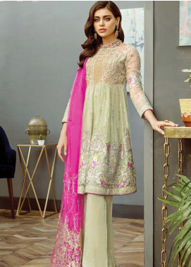 Alleche by Afrozeh Embroidered Chiffon Unstitched 3 Piece Suit AAF19E 08 Gleaming Pistachio - Luxury Collection