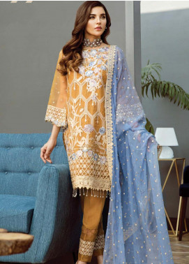 Alleche by Afrozeh Embroidered Organza Unstitched 3 Piece Suit AAF19E 09 Tuscan Honey - Luxury Collection