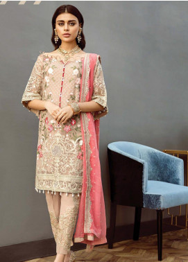 Alleche by Afrozeh Embroidered Chiffon Unstitched 3 Piece Suit AAF19E 10 Dusky Rose - Luxury Collection