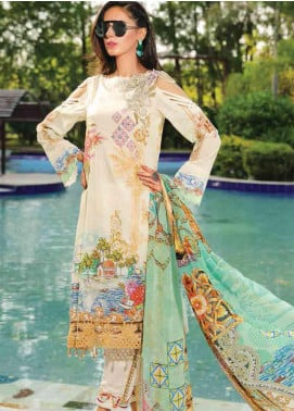 Motifz Embroidered Lawn Unstitched 3 Piece Suit AMT19F 2247 Ocean Breeze - Festive Collection