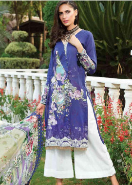 Motifz Embroidered Lawn Unstitched 3 Piece Suit AMT19F 2250 Blue Moon - Festive Collection