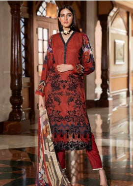 Amal by Motifz Embroidered Lawn Unstitched 3 Piece Suit AMT20F 2595 Rose Wood - Festive Collection