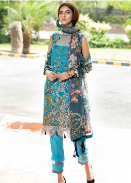 Amal by Motifz Embroidered Lawn Unstitched 3 Piece Suit AMT20F 2598 Blue Sapphire - Festive Collection