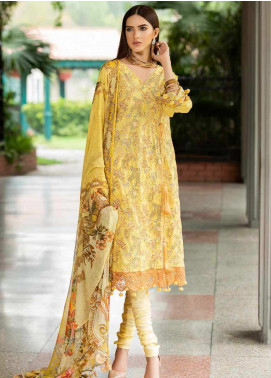 Amal by Motifz Embroidered Lawn Unstitched 3 Piece Suit AMT20F 2600 Vegas Gold - Festive Collection