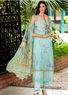 Amal by Motifz Embroidered Lawn Unstitched 3 Piece Suit AMT20F 2601 Cambridge Blue - Festive Collection