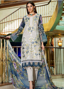 Amal by Motifz Embroidered Lawn Unstitched 3 Piece Suit AMT20F 2603 Trolley Grey - Festive Collection