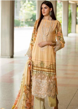 Amal by Motifz Embroidered Lawn Unstitched 3 Piece Suit AMT20F 2606 Powder Peach - Festive Collection