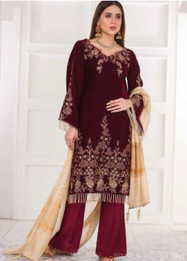 Amna Eman By Noor Jahan Embroidered Velvet Unstitched 3 Piece Suit NJ21AE 01 - Festive Collection
