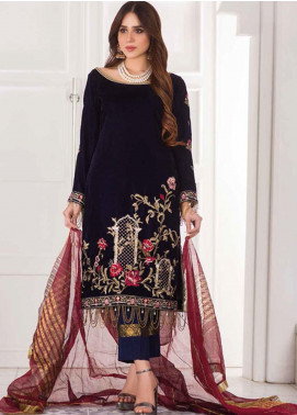 Amna Eman By Noor Jahan Embroidered Velvet Unstitched 3 Piece Suit NJ21AE 03 - Festive Collection