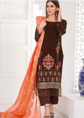 Amna Eman By Noor Jahan Embroidered Velvet Unstitched 3 Piece Suit NJ21AE 04 - Festive Collection