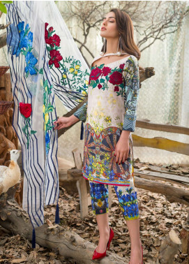 Asifa & Nabeel Embroidered Lawn Unstitched 3 Piece Suit AN18E 04 - Festive Collection