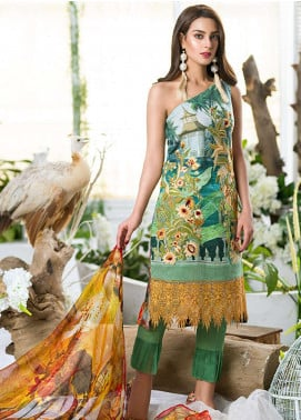 Asifa & Nabeel Embroidered Lawn Unstitched 3 Piece Suit AN18E 12 - Festive Collection