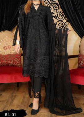 Anamta Embroidered Lawn Unstitched 3 Piece Suit ANT20B BL-01 - Black & White Collection