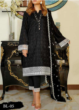 Anamta Embroidered Lawn Unstitched 3 Piece Suit ANT20B BL-05 - Black & White Collection