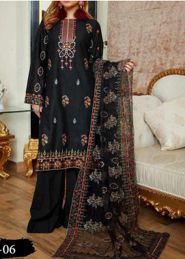 Anamta Embroidered Lawn Unstitched 3 Piece Suit ANT20B BL-06 - Black & White Collection