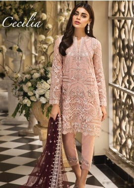Anaya by Kiran Chaudhry Embroidered Chiffon Unstitched 3 Piece Suit AKC19E 03 CECILIA - Festive Collection