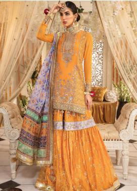 Anaya By Kiran Chaudhry Embroidered Chiffon Unstitched 3 Piece Suit AKC19MC 01 AMBER - Wedding Collection