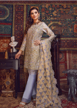Areej By A-Meenah Embroidered Organza Unstitched 3 Piece Suit AME19C 07 Zaireh - Luxury Collection