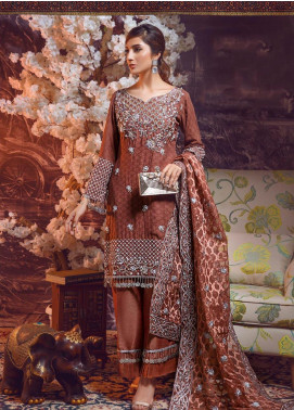 Areej By A-Meenah Embroidered Cotton Unstitched 3 Piece Suit AME19C 09 Aiwa - Luxury Collection