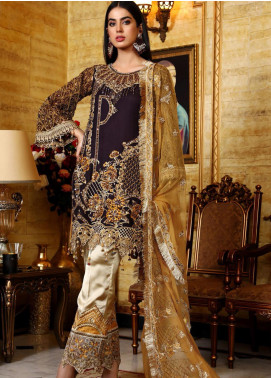 Areesha Embroidered Chiffon Unstitched 3 Piece Suit AR21C 01 Purple Mustard - Luxury Chiffon Collection