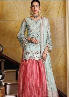 Areesha Embroidered Chiffon Unstitched 3 Piece Suit AR21C 05 Lehnga Ferozi - Luxury Chiffon Collection