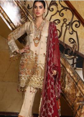 Areesha Embroidered Chiffon Unstitched 3 Piece Suit AR21C 08 Masoori Skin - Luxury Chiffon Collection