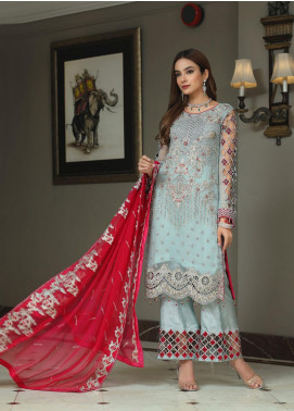 Areesha Embroidered Chiffon Unstitched 3 Piece Suit ARE20-C6 01 Ferozi - Luxury Collection