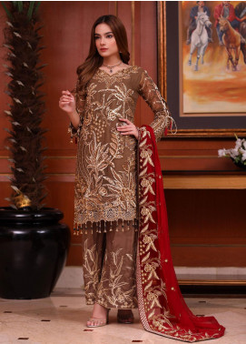 Areesha Embroidered Chiffon Unstitched 3 Piece Suit ARE20-C6 02 Brown Red - Luxury Collection