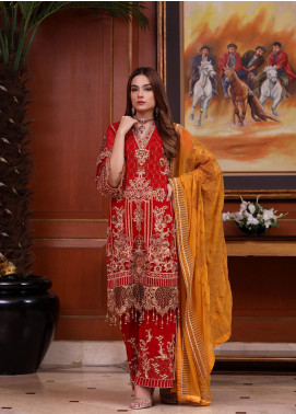 Areesha Embroidered Chiffon Unstitched 3 Piece Suit ARE20-C6 04 Red Golden - Luxury Collection